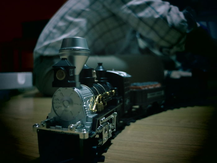 Close-up of toy train at home