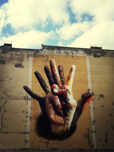 Street Art Center Hands Graffiti