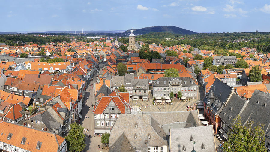 16:9 Aerial View Architecture City Cityscape Germany Goslar Harz Historic History Lower Saxony Niedersachsen Panorama Panoramic Roof Tourism Town Travel Travel Destinations World Heritage