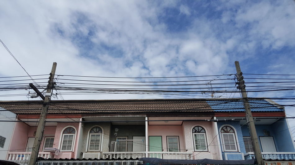 Community Home Building House Sky Sky And Clouds Blue Wire Contry Old Project Clouds Skies Thailand Village Classic Style Exterior Building Design Lifestyles Communities