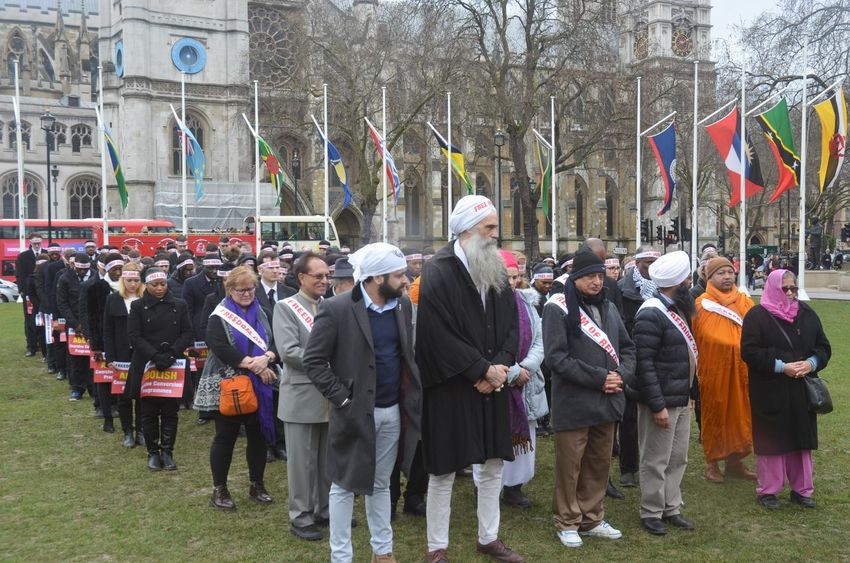 saturday 11th march 2pm parliement square london uk . inter religous fiaths gathered to pay respects to those murdered in conversion therpy session, religous intolerance among the wider world mainstream religions. conversion often entials violent and damaging forms of persecuion and cohesion programming. a silent vigil took place on parliement square to highlight both the practice and victims . Service Adult Banners ,headbands Bhuddist Cohersive, Conversion, Deaths, Evangelical, Faith, Freeourfaith, Programmes, Religion, Religious Freedom, Sihk Day Outdoors People Vigil
