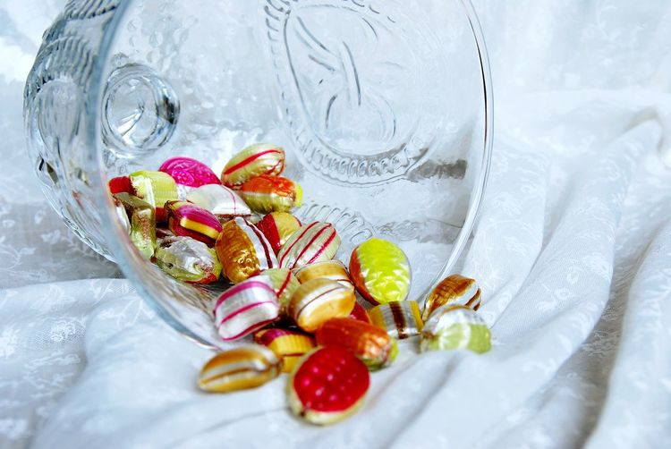 Candies in glass container