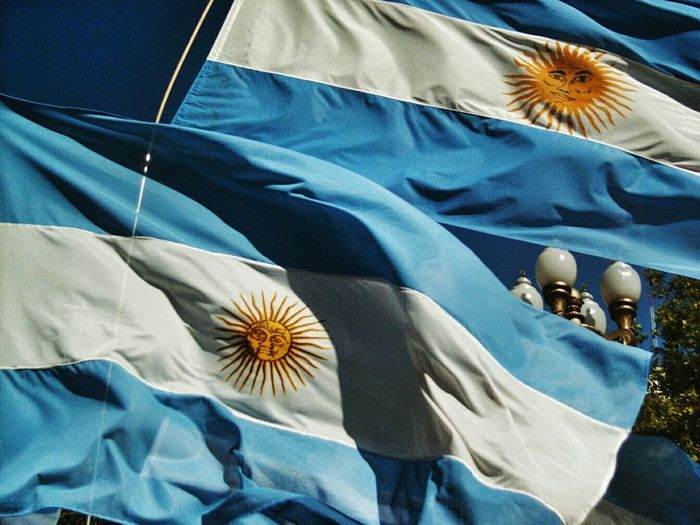 Low angle view of argentinian flags