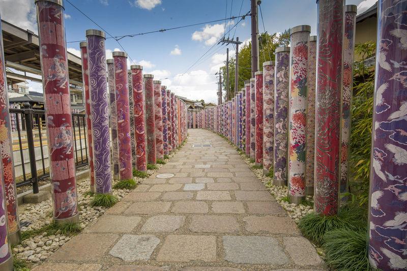 Footpath amidst fence against sky