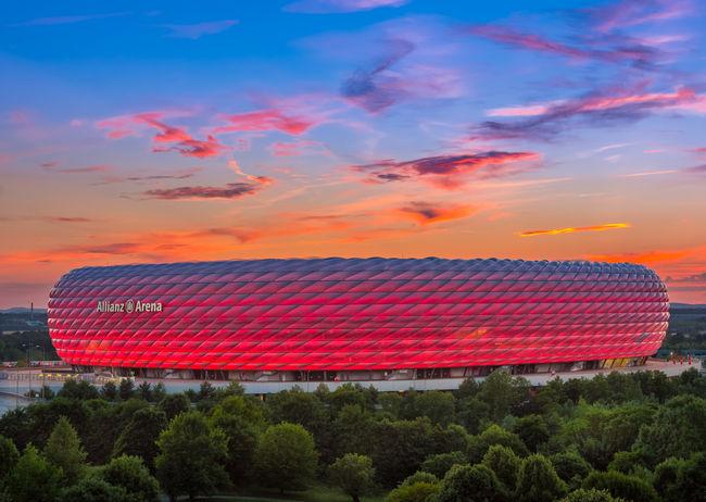 Famous football stadium Allianz Arena in Munich, Bavaria, Germany, Europe München Munich Allianz Arena Allianz Alliance Arena Bayern Bavaria Deutschland Germany🇩🇪 Fussball Soccer Stadium Stadion No People Outdoors Sky
