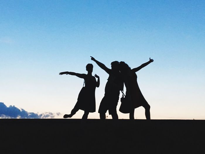 Silhouette people with hand raised against sky during sunset