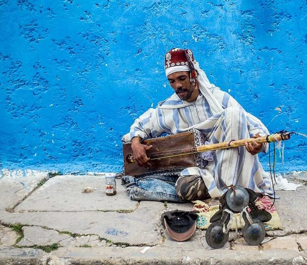 Blue One Person Adults Only Only Men Men One Man Only Adult People Portrait Outdoors Close-up Water Day Gnaoui Rabat Morocco Music Musician Musical Instrument