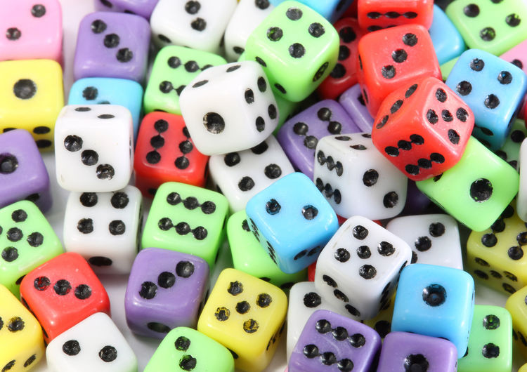 High angle view of colorful dice