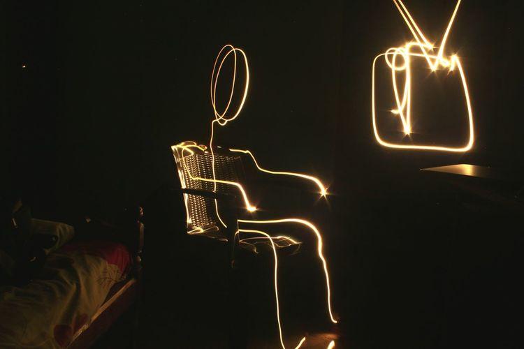 Illuminated Light Panting In Darkroom