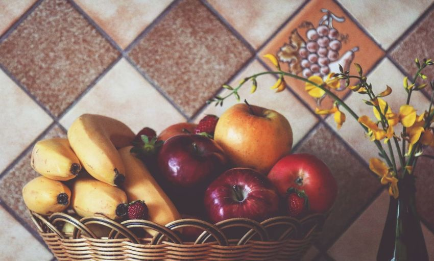 Fruits Basket Bananas Strawberries Light And Shadow Taking Photos Feeling Creative OpenEdit EyeEm Best Shots Freshness Nature Yummy Delicious Healthy Eating Healthy Food High Angle View Warm Colors Fruit Flower Apple - Fruit Close-up Food And Drink