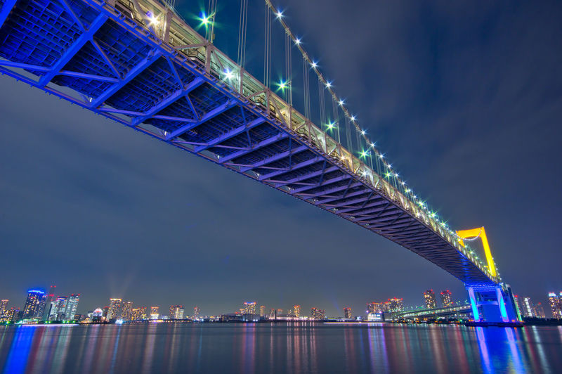 Architecture Built Structure Building Exterior Water City Illuminated Connection Bridge Night Sky Bridge - Man Made Structure Travel Destinations River Office Building Exterior Reflection Transportation Landscape No People Cityscape Skyscraper Modern Outdoors Financial District  Tokyo Night Japan