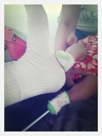 the difference between mine and my lil sisters foot(: