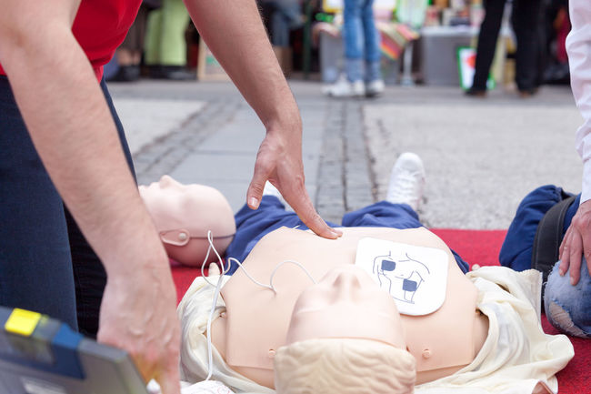 Defibrillation training. First aid. CPR. CPR  CPR Training Emergency First Aid Instructor Learning Life Medicine Paramedic Teaching Ambulance Staff Cpr Dummy Defibrillation Defibrillator Electrode Healthcare And Medicine Heart Help Human Hand Massage Medical Medical Exam Procedure Rescue Shock