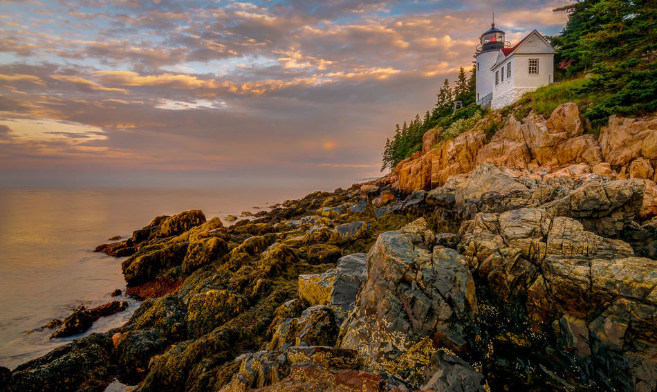 Bass Harbor Lighthouse Acadia National Park Architecture Bass Harbor Lighthouse Beauty In Nature Building Exterior Built Structure Cliff Cloud - Sky Horizon Over Water Landmark Lighthouse Maine Nature No People Rocky Coastline Scenics Sea Sky Sunrise Tranquility Water