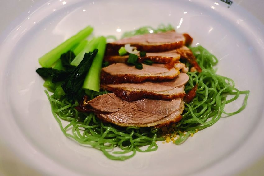 Lunch ... Roasted duck over Jade noodle Roasted Duck Jade Noodle Plate Chinese Food Savory Food Leaf Gourmet Close-up Food And Drink