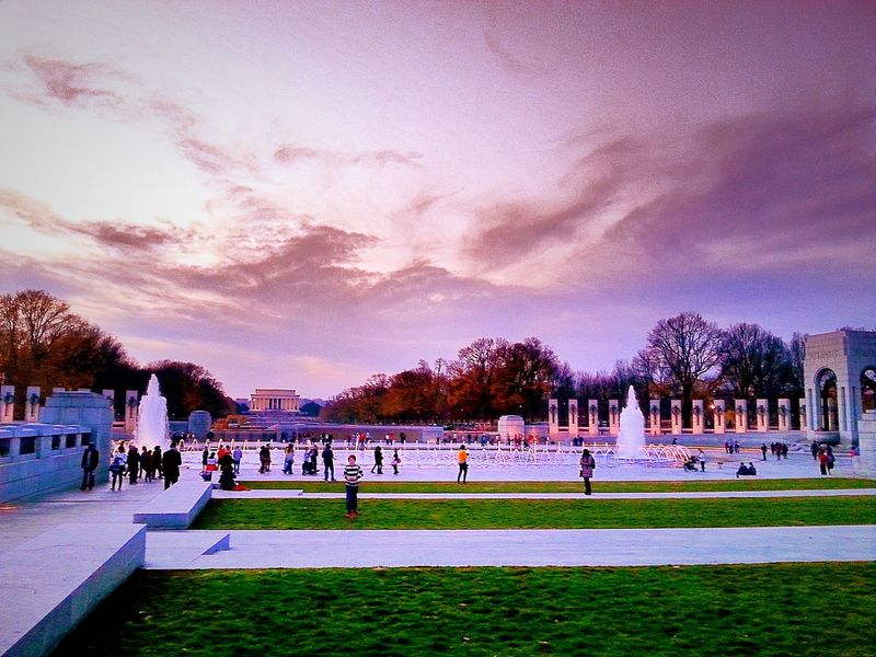 Camera 360 App WW II Memorial WWII Memorial WWII Washington DC WashingtonDC Washington, D. C. Evening People People Photography Peoplephotography Group Group Of People Groups