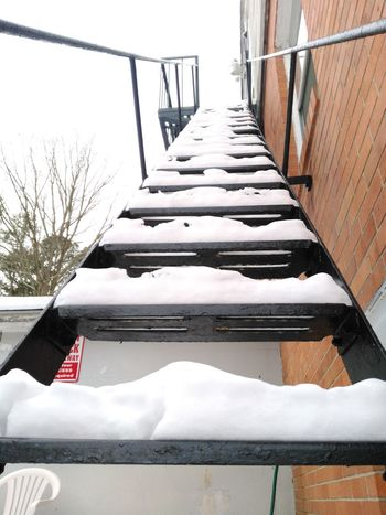 Wintertime Fireescape Snow Covered Newjersey