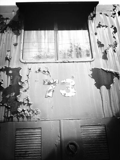 Seventy three 73 Black And White Black & White Black And White Collection  Blackandwhite Lines, Shapes And Curves Lines And Patterns Lines Rustic Rustygoodness Paint 73 Seventy Three Window Taking Photos Taking Pictures Chipped Paint ChippedPaint Lines And Shapes Train Side View Black & White Photography Black&white Eye4photography  Detail Rust