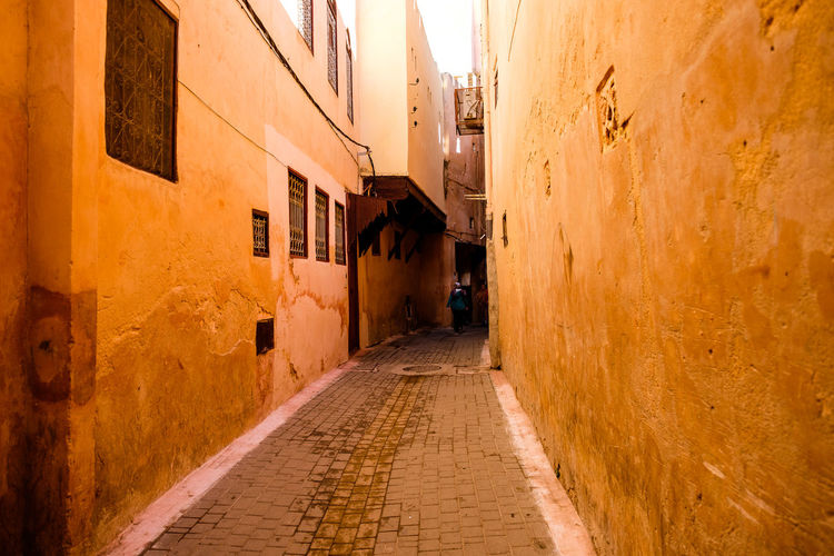Meknès Moroccan Architecture Morocco Old Street Orange Travel Alley Built Structure City Outdoors Street Tourism Travel Destinations