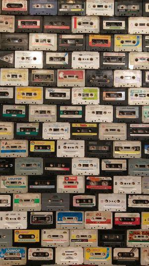 Full frame shot of audio cassettes