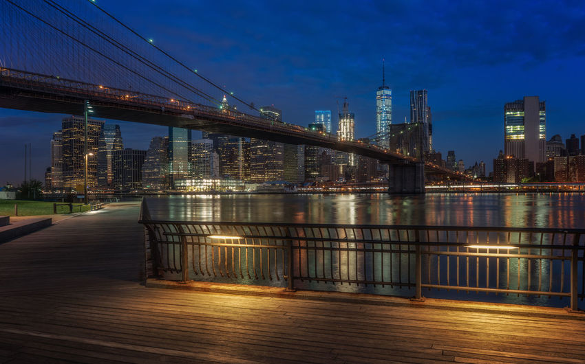 Blue hour image New York skyline and the Brooklyn bridge Architecture Bridge - Man Made Structure Brooklyn Brooklyn Bridge / New York Built Structure City Cityscape Connection Manhattan New York Sky Travel Destinations Full Frame