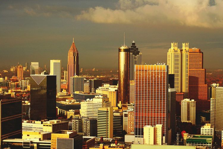 Southern skyline sunset Skyscraper Cityscape Architecture City Building Exterior Modern Travel Destinations Urban Skyline Built Structure Outdoors Downtown District Sky Growth Day Aviation Photography Tall - High Illuminated Atlanta, Georgia ATL Aerialview Aviationphotography Majestic Sunset Cityscape Dramatic Sky