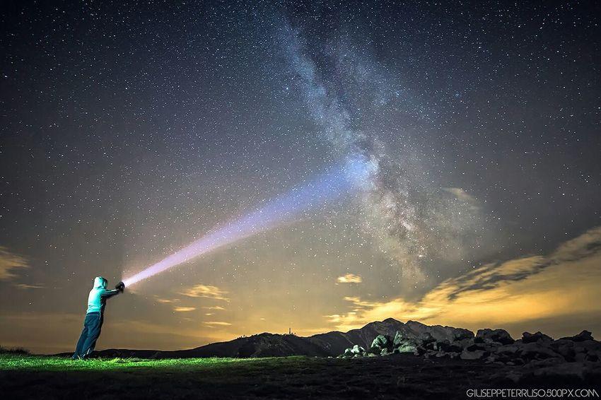 Self Portrait Around The World Night Milkyway Stars Mountains Lake Of Garda 2000meters Sky