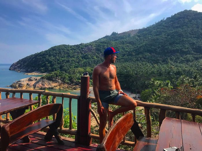 Real People Mountain Shirtless One Person Railing Sky Full Length Day Nature Scenics Leisure Activity Tree Beauty In Nature Outdoors Lifestyles Cap Growth Landscape Standing Young Adult