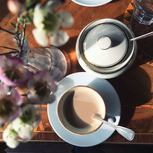 Coffee Good Morning Coffe Cup Goodlife Decoration Flowers Sunlight Table Close-up Switzerland