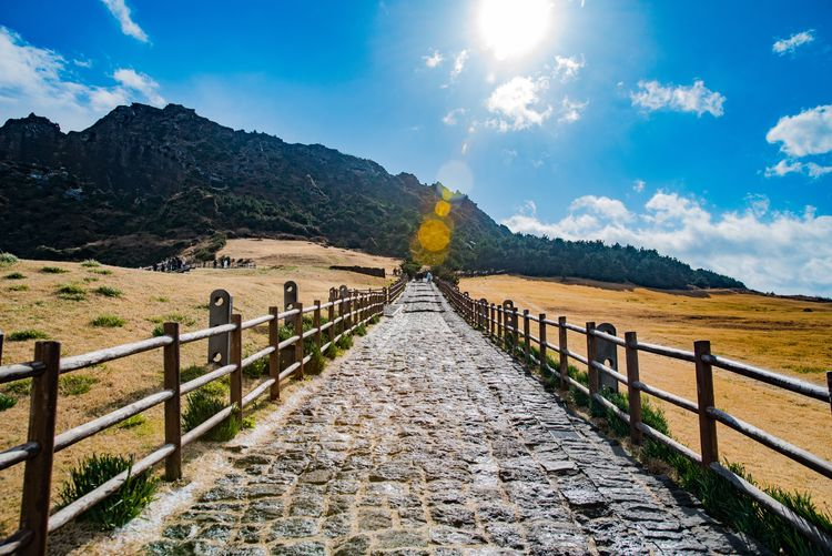 Railing Sky The Way Forward Mountain Cloud - Sky Tranquil Scene Scenics Outdoors Day Sunlight Nature Tree Beauty In Nature Landscape
