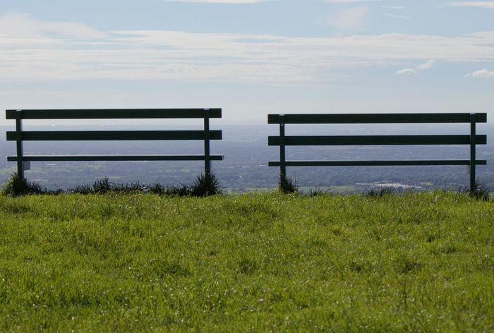 No People Sky Outdoors Grass Day Nature Cloud - Sky Scenics Tranquility Landscape Beauty In Nature Bench Two Two Benches