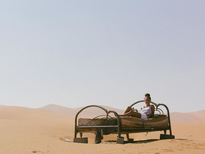 Camping style. Bed Clear Sky Desert Dubai Horizon Over Land Nature Outdoors Vintage Woman Finding New Frontiers