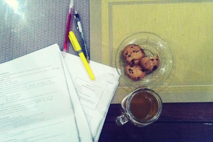 Rice tea, cookie, study.
