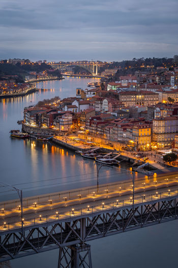 Porto cityscape. Ponte Luis I, Rio Douro e Ribeira do Porto Architecture Building Exterior Water Built Structure City Sky Transportation Illuminated Residential District Nature Cityscape Cloud - Sky No People High Angle View Building River Bridge - Man Made Structure Bridge Mode Of Transportation Outdoors Porto Portugal Sunset Night Tourist Attraction