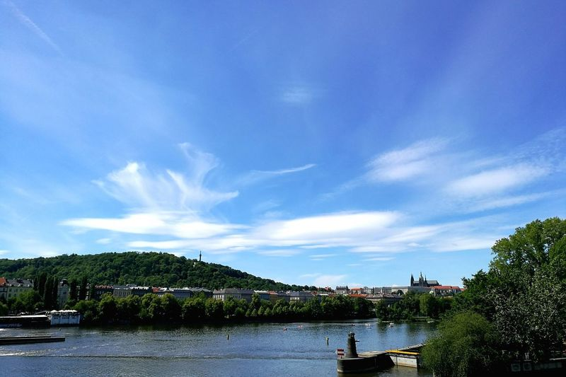 Cloud - Sky Sky Tree Water Day Outdoors Blue Beauty In Nature Nature Vltava Czech Republic Pragueboy EyeEmNewHere EyeEm Best Shots EyeEm River Praguecastle Amazing Amazing_captures Photography Photo Photographer First Eyeem Photo