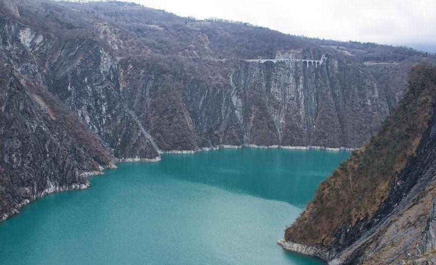 High angle view of lake