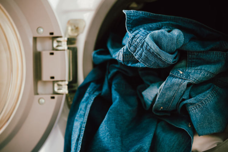 Close-up of laundry in washing machine
