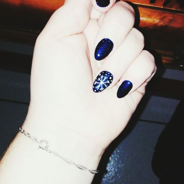 That's Me Nail Art Blue Sky Christmas Time Flocon🌌❄ Love ♥