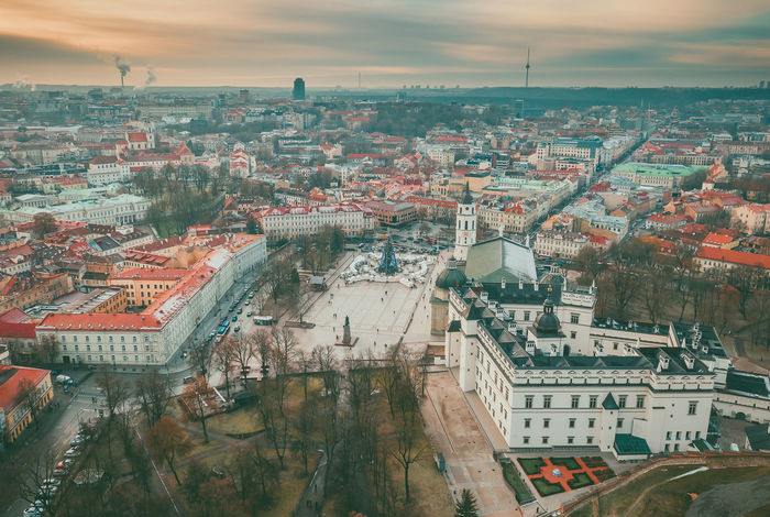 Vilnius, winter season, drone aerial view Capture Tomorrow Drone  Aerial View Aerial Mavic 2 Mavic 2 Pro Europe Lietuva Winter Building Exterior Architecture Built Structure Cityscape City Residential District Building High Angle View Sky Crowd Crowded Nature Cloud - Sky Town Day Outdoors Community Water Roof TOWNSCAPE Settlement