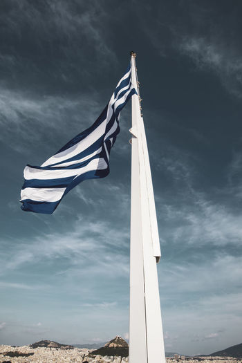 Acropolis Athens Greece Acropolis Patriotism Flag Striped Cloud - Sky Sky Environment Wind Waving Nature Low Angle View No People Pole Day Pride Independence Emotion Motion Outdoors Freedom National Icon