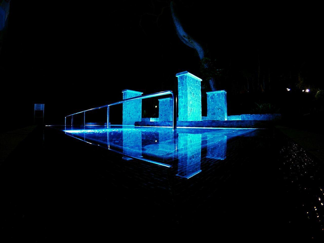night, illuminated, blue, reflection, no people, outdoors, architecture, sky