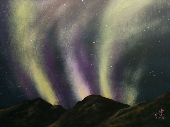 "A natural phenomenon Northern lights (Aurora).oil on canvas 16""_22"".I would like to thank each and every one of my grate friends by painting a canvas to honer you as a token of appriciation so tody I'm dedicating this canvas to a very wonderful friend ( Zhanan) this is for you my friend and many thanks for being such a good friend ,thank you. Majestic Beauty In Nature Tranquil Scene Northern Lights Dramatic Sky Star - Space Natural Phenomena Glowing Sky Shooting Stars with"