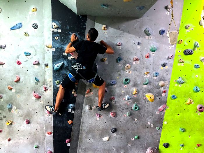 Beat yourself. Sport Climbing Wall Rock Climbing Climbing Healthy Lifestyle Leisure Activity Lifestyles Strength Activity Gripping Challenge Effort Extreme Sports