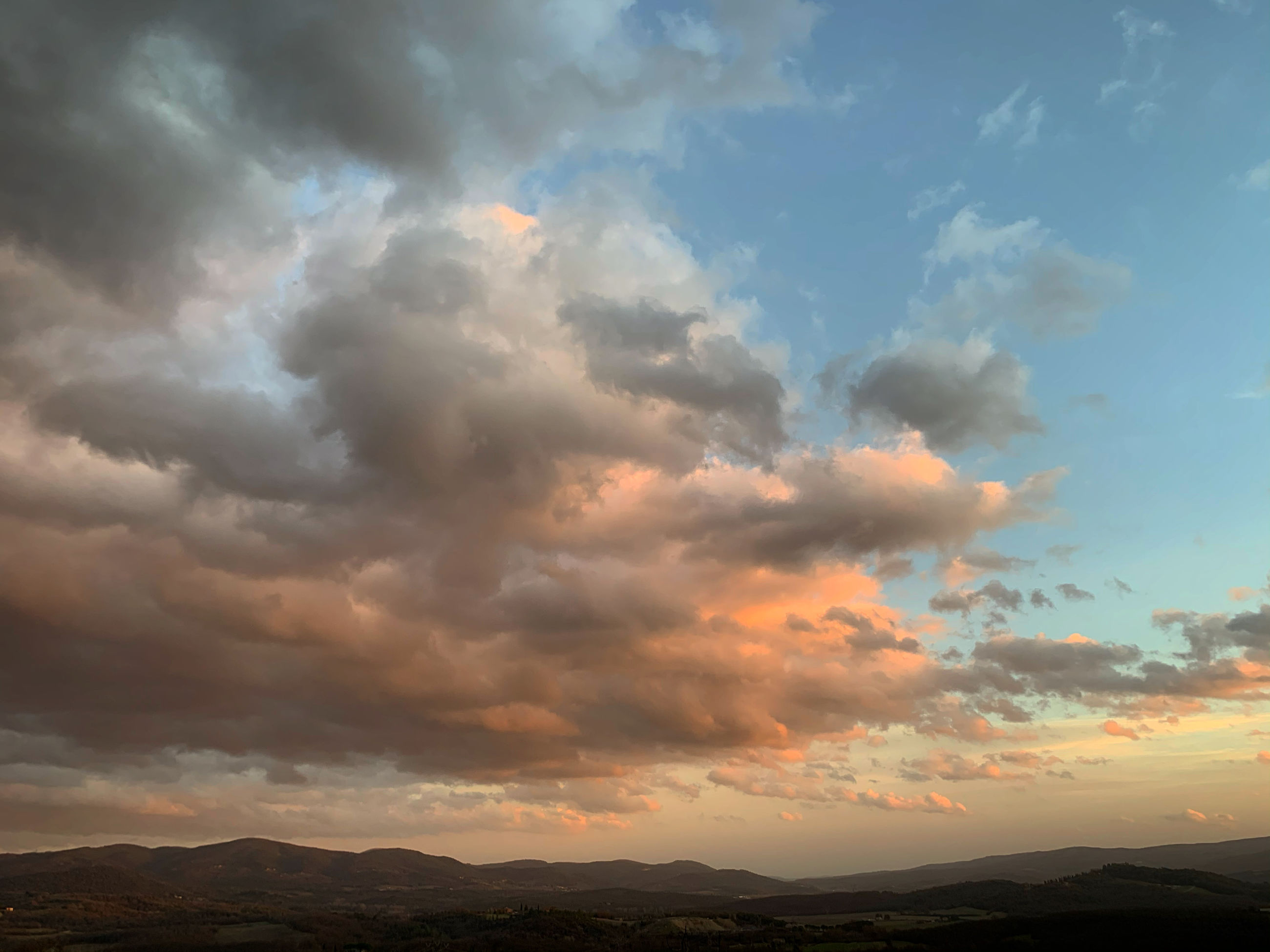 cloud - sky, sky, scenics - nature, beauty in nature, sunset, tranquility, tranquil scene, mountain, no people, nature, idyllic, environment, non-urban scene, landscape, orange color, silhouette, outdoors, remote, mountain range, dramatic sky