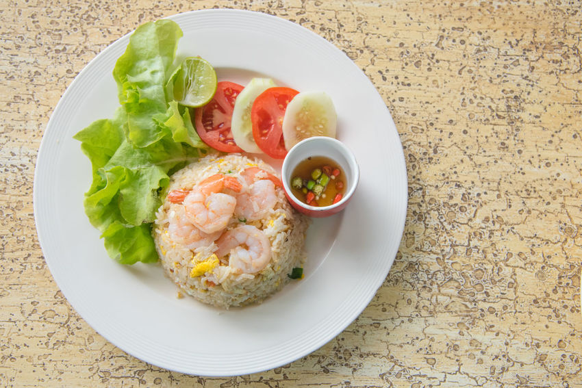 Fried rice with shrimp in Thai food style Close-up Cuisine Delicious Delicious ♡ Dish Food Foodie Foodphotography Fried Rice Healthy Eating Meal Menu Rice Field Shrimps Still Life Style Table Thai Cuisine Thai Food Vegetables Yummy