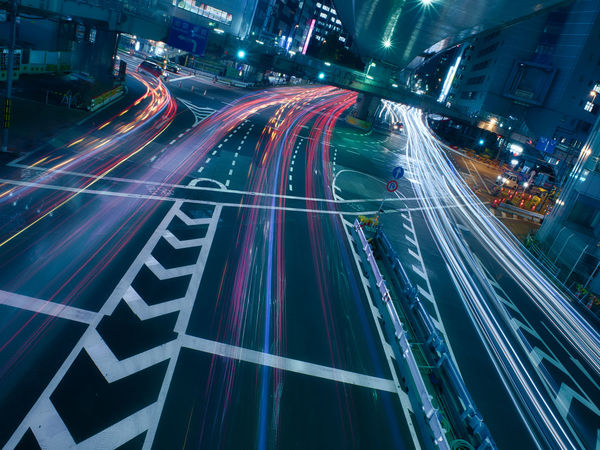 High speed traffic highway in the centre of Tokyo. Japan Shibuya Tokyo,Japan Blurred Motion City City Life City Street Cityscape High Angle View Highway Illuminated Light Light Trail Long Exposure Mode Of Transportation Motion Multiple Lane Highway Night No People Outdoors Road Speed Street Traffic Transportation