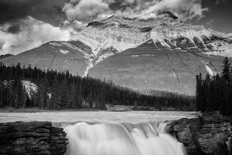 Black & White Beauty In Nature Black And White Black And White Photography Blackandwhite Blackandwhite Photography Bw Cloud - Sky Athabasca Glacier forest Long Exposure Motion Mountain Mountain Range Nature Athabasca Falls Athabascafalls Outdoors Power In Nature Scenics Sky Tranquility Tree Water Waterfall