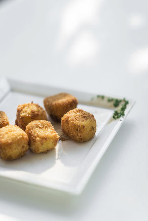 Croquetas Potato Snack Spanish Food Tapas Vegetarian Food Close-up Croquette Day Food No People Plate Ready-to-eat White Background