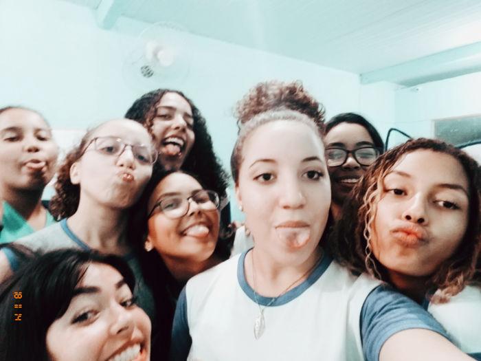 Young Women Crowd Portrait Friendship Togetherness Teamwork Headshot Smiling Selfie Women