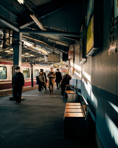 People waiting at subway station